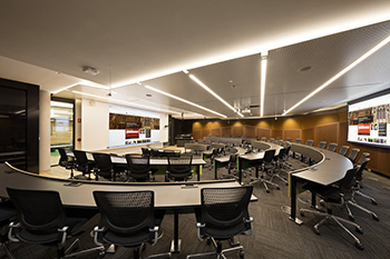 Lecture theatre with curved rows of tiered seating