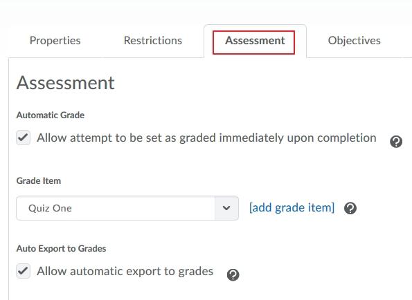 Quiz - Assessment tab
