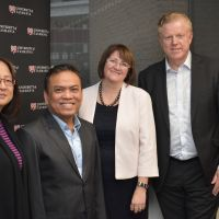 Indonesian delegates discuss the Australian Maritime College