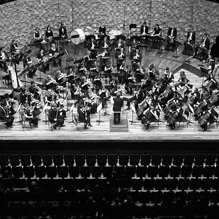 Orchestra sitting on a stage