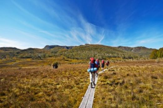 Hikers on Overland Track in Tasmania