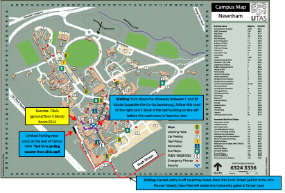 Exercise Physiology Clinic Map - Walking/Driving