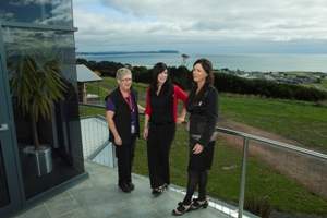 Louise Lee, Claire Grist and Therese Evans on RCS Balcony