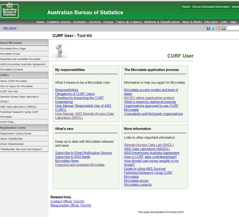 image of the CURF user Tool Kit page from the ABS website