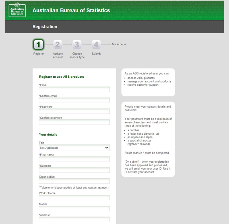 image of registration screen from the ABS website