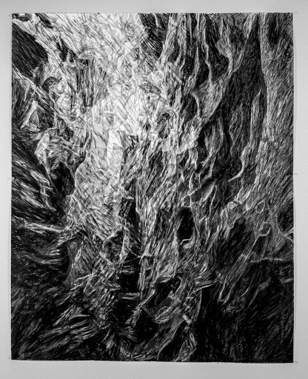 David Edgar, crawl, 125 x 125 cm, charcoal on paper, 2018. Photograph by Alastair Bett