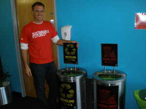 Corey Peterson, UTAS Sustainability Manager, with new RCS bins