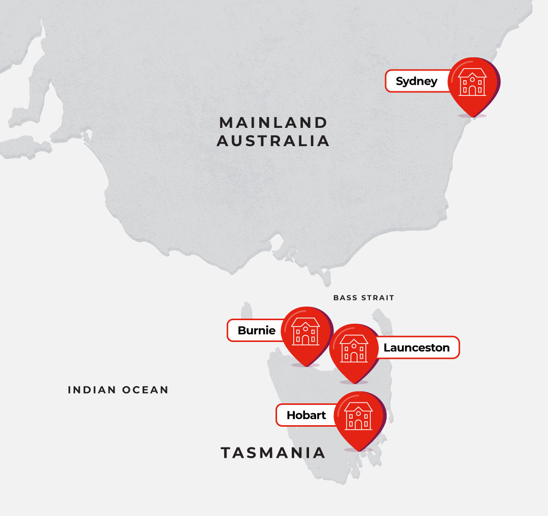 Map showing Tasmania and Sydney campuses