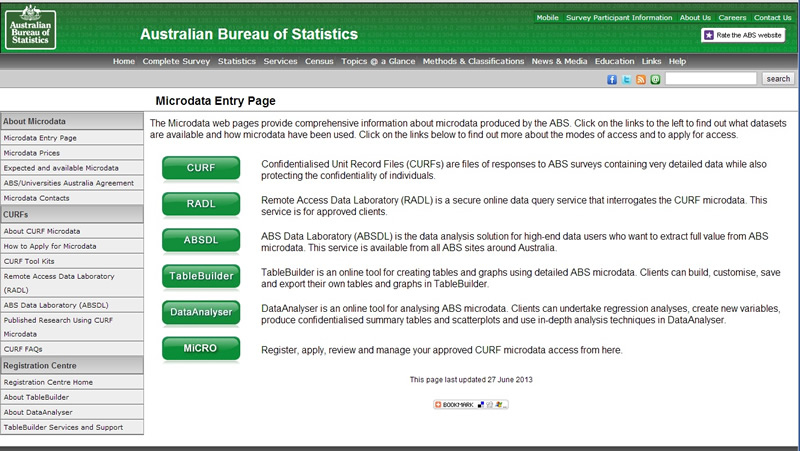 image of the Micro data entry page from the ABS website