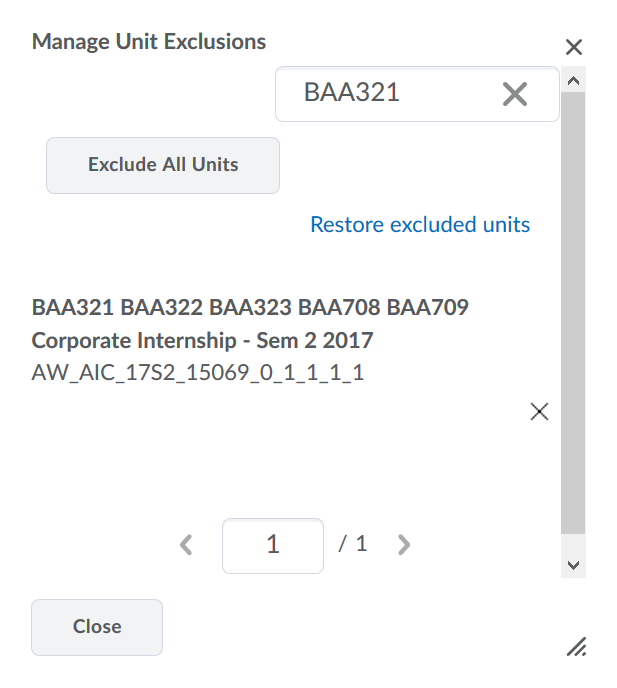 Screenshot of the Manage Unit Exclusions page.
