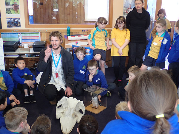 Toby Travers with Devonport Primary students - September 2017. Image courtesy Geolocation Journeys.
