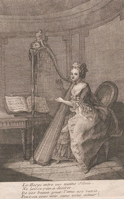 Michel Corrette (1707-1795), Frontispiece to Nouvelle méthode pour apprendre à jouer de la harpe, Paris, 1774.