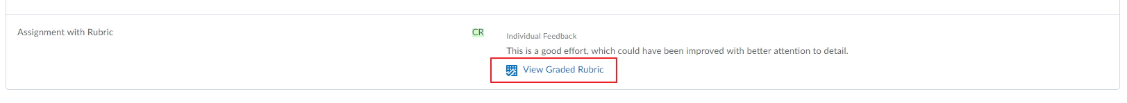 Rubric and feedback in grades