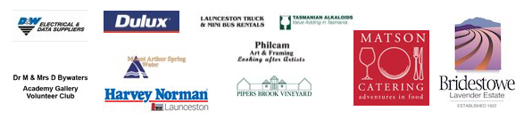 Gallery Partner Logos | D&W Electric & Data Suppliers, Dulux, Launceston Truck & Mini Bus Rentals, Tasmanian Alkaloids, Philcam Art & Framing, Dr M & Mrs D Bywaters - Academy Gallery - Volunteers Club, Harvey Norman, Matson Catering, Pipers Brook Vineyard, Bridestowe Lavender Estate