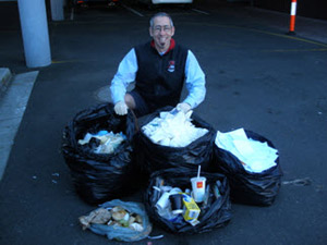 Dr Nick Towle conducting a 'waste audit' at the RCS