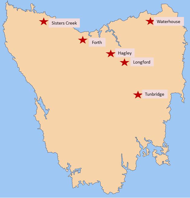 Location of farm demonstration sites