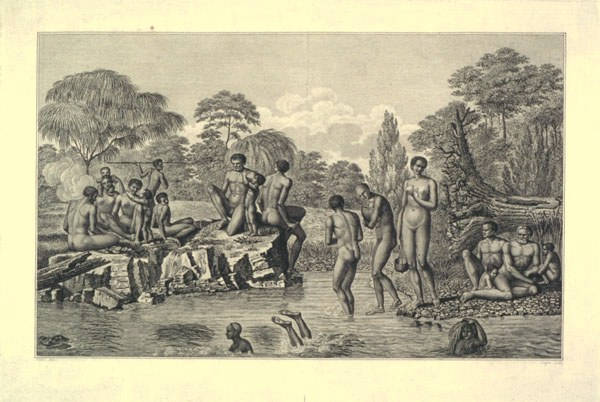 Aboriginal people fishing, as depicted by French explorers in 1800 (ALMFA, SLT)