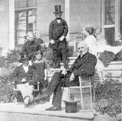 Henry Hopkins with his family at his residence, Summerhome, Moonah
